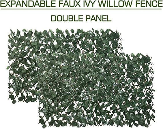 Artificial Leaf Faux Ivy Expandable//Stretchable Privacy Fence Screen Single Sided Leaves