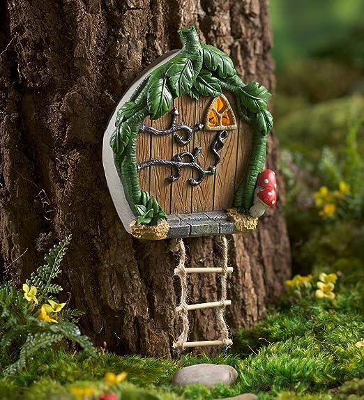 Miniatura Jardín de hadas solar luz de resina árbol puerta con escalera de cuerda 1 W x 2 D x 9.75 H: Amazon.es: Jardín