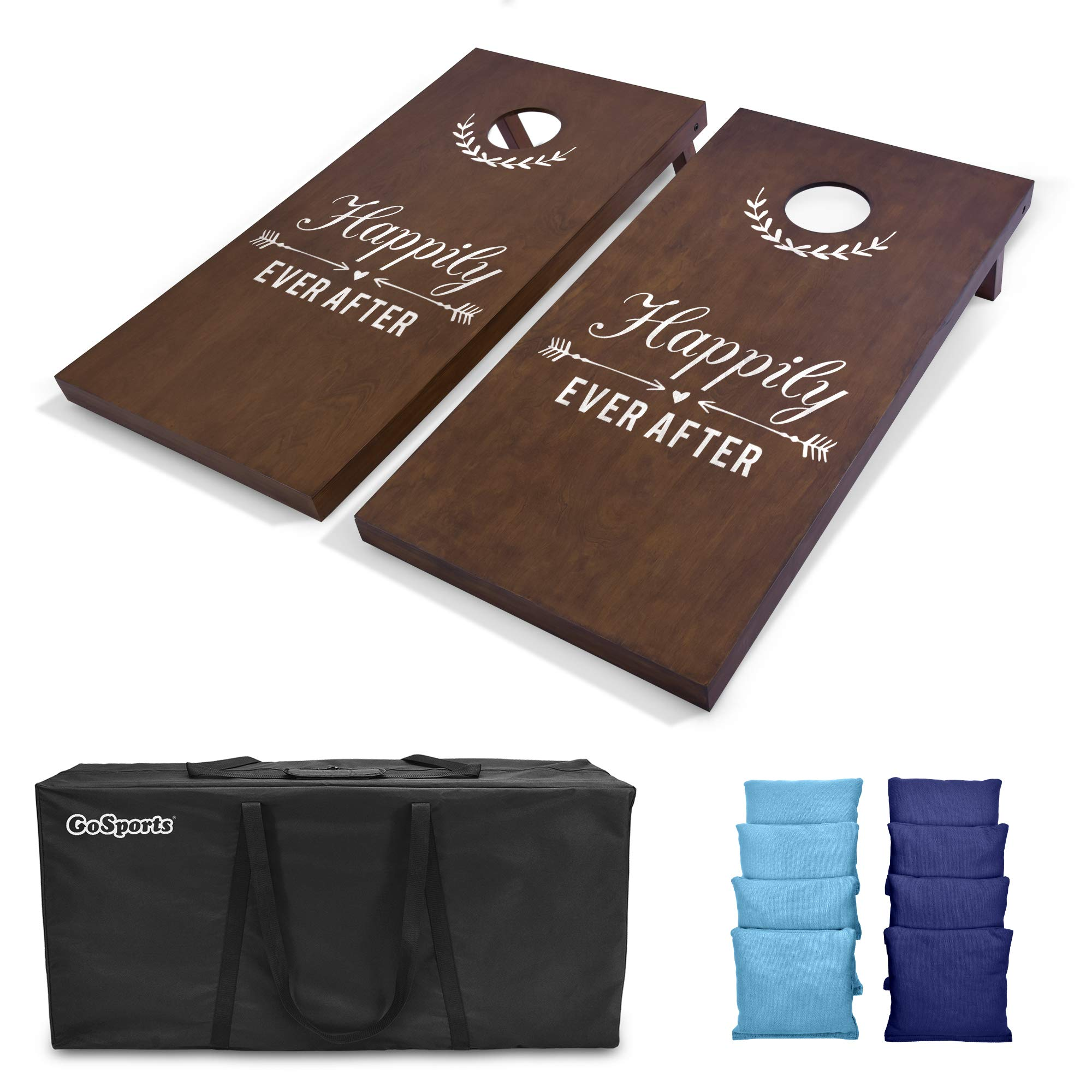 GoSports Wedding Cornhole Set   Regulation 4'x2' Size  Solid Stained Wood with Carrying Case and Bean Bags (Choose Your Colors) - Match The Wedding Theme! by GoSports