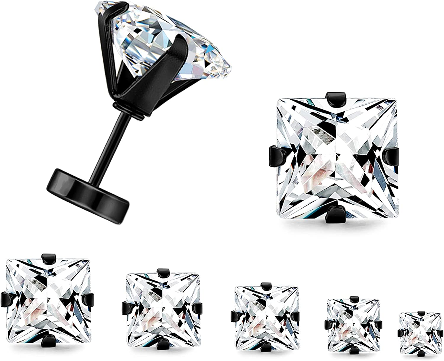 Pair of Black IP Plated Stainless Steel Stud Earring Princess Cut Clear CZ H23