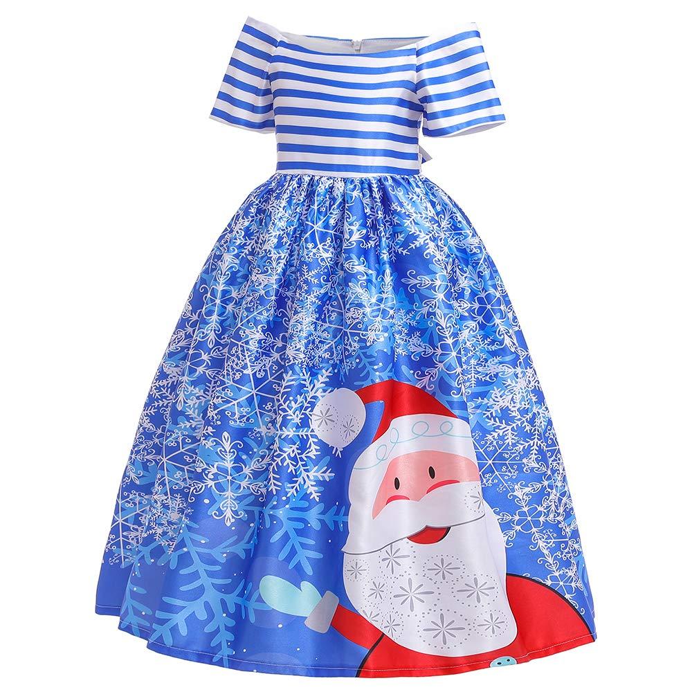 YTGOOD Kid Girl Christmas Dress Bowknot Santa Claus Snowman Short Sleeve Stripe Party Gown 052-red 120cm