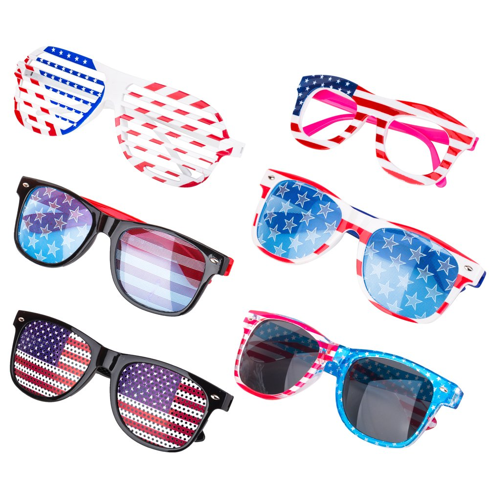 0e4184f8d529 plastic frame plastic lens non-polarized. Lens width  50 millimeters.  Include 6 American flag glasses. You can share them with your families and  friends