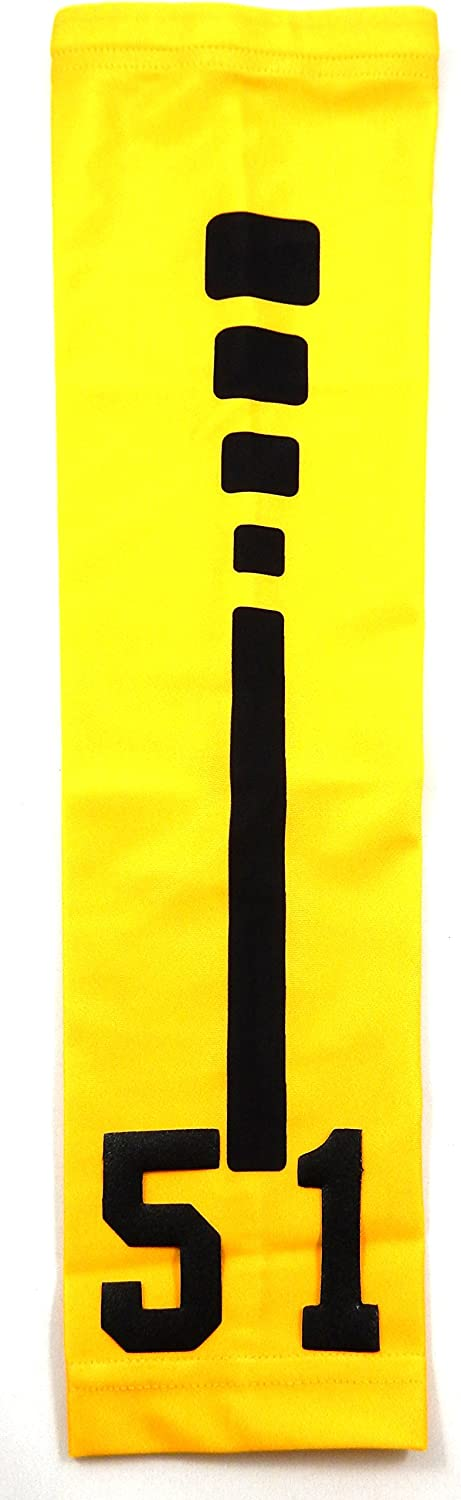 Custom Number ADULT LARGE Sports Arm Sleeve YELLOW RED SOFTBALL STITCH NEW