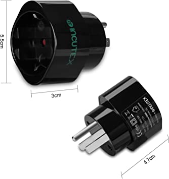 Incutex 2X Adaptador USA Tierra, Adaptador Estados Unidos 3 Pin ...