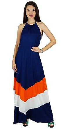 Bimba Frauen Halter-Ansatz lange Maxi-Kleid chic Strand klassischen  Sommerkleidung tragen