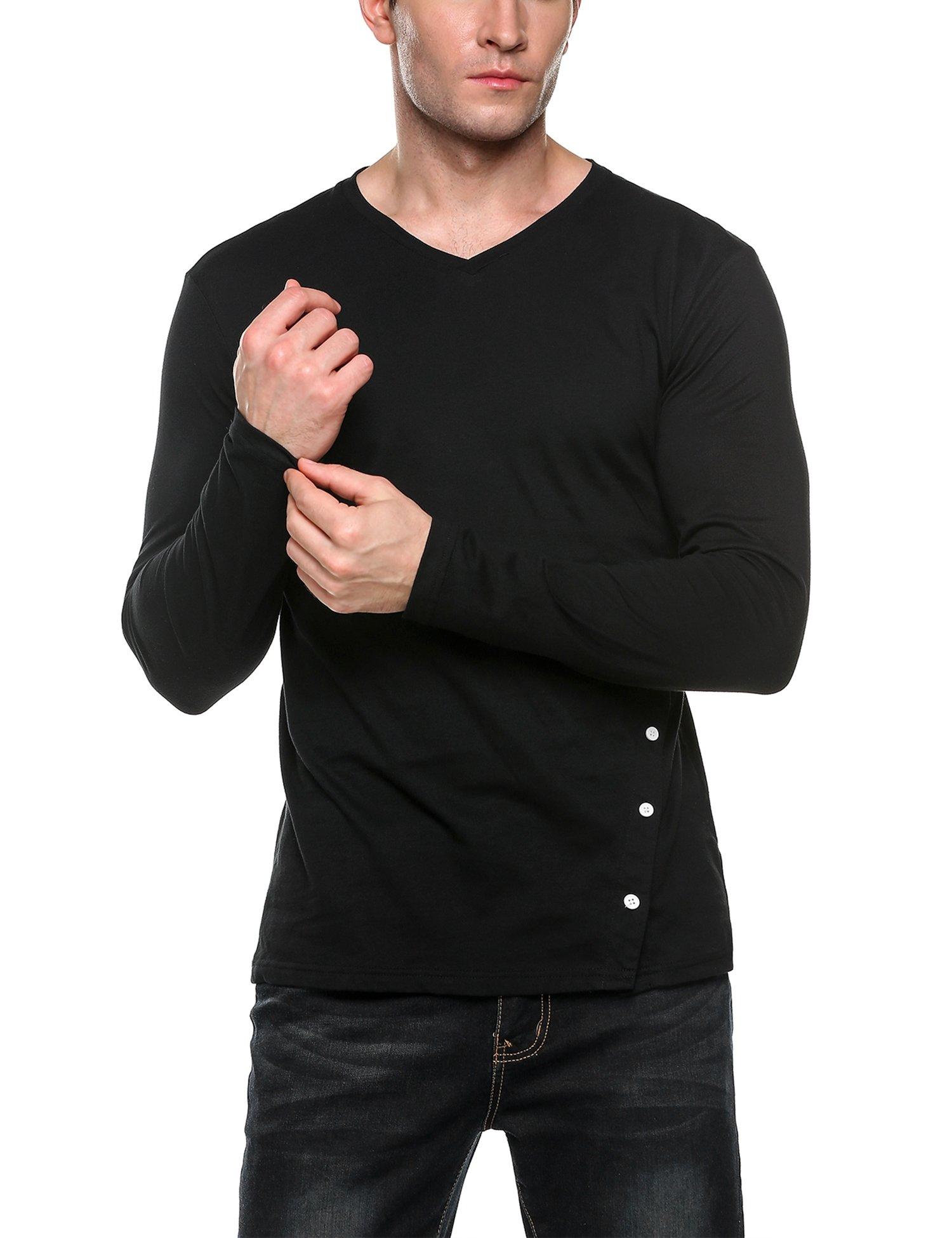 Coofandy Men's Casual Slim Fit Side Button Long Sleeve V-Neck T-Shirts, Black, Medium