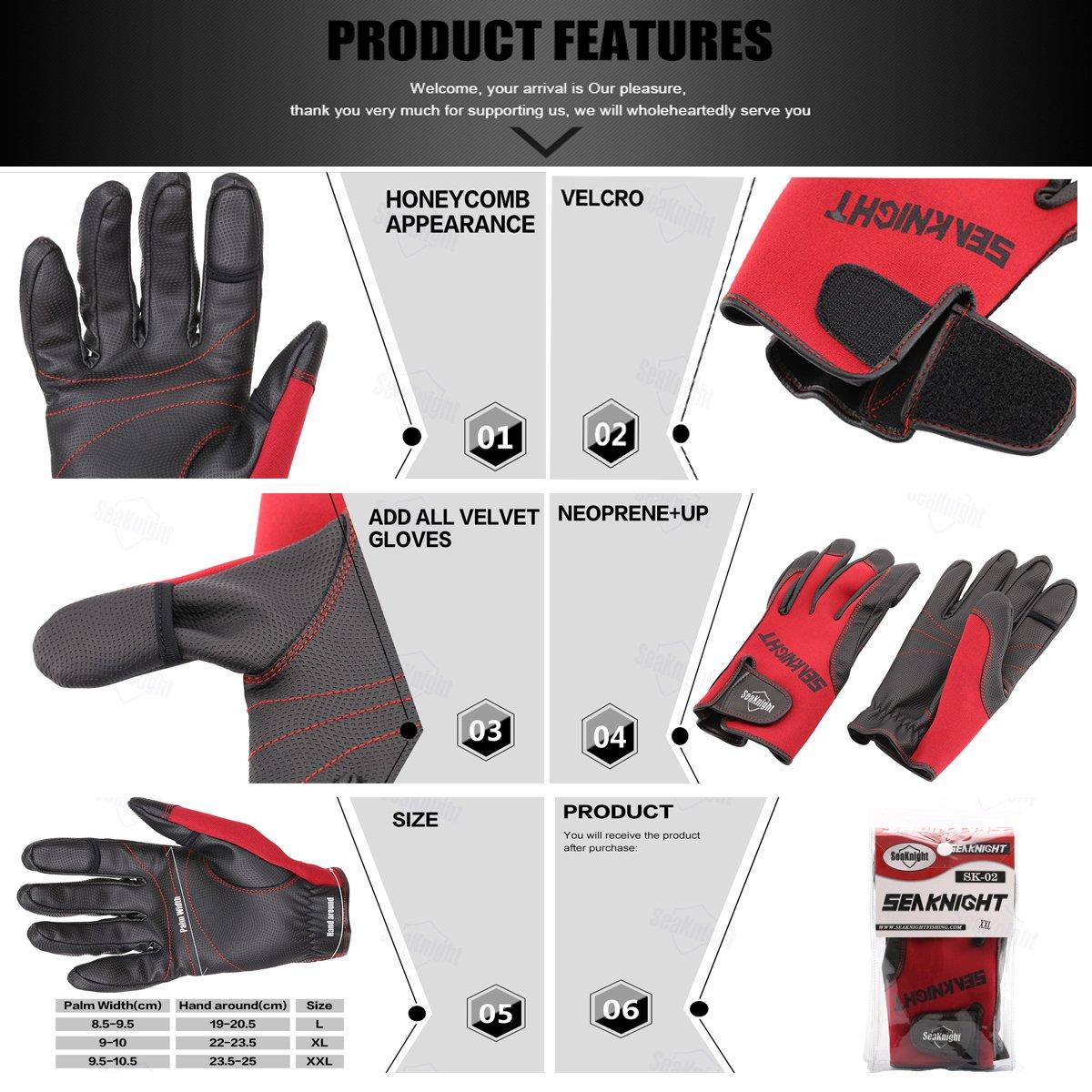 SeaKnight SK03 Neopren-Handschuhe Reiten Angelhandschuhe zum Angeln 3/freie Finger winddicht Sport Outdoor Jagen rutschfest Fahrradfahren