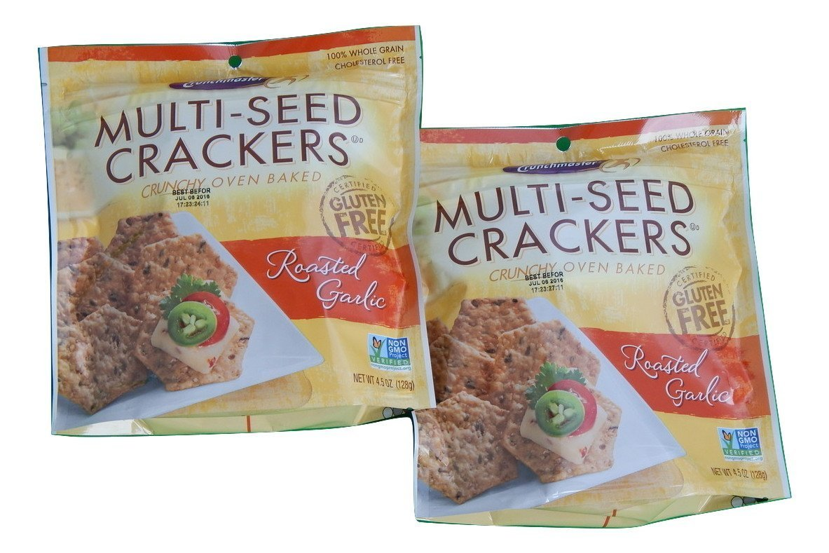 Crunchmaster Multi-Seed Crackers Roasted Garlic, 100% Whole Grain Gluten-Free Non-GMO, 4.5 Oz. (Pack of 2) by Crunchmaster