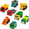 Yoptote Push Pull Back Car Toy Mini Cars Toys Truck Model Set Working Vehicle Truck Series8 pcs Great Gift for Kids Boys Girls Above 3 Years Old