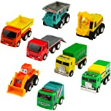 Pull Back Vehicles Assorted Construction Trucks and Raced Car Toy Mini Toy Cars,8 Pack,Party Favors for Kids Boys Girls 3 4 5 Years Old,Color Vary