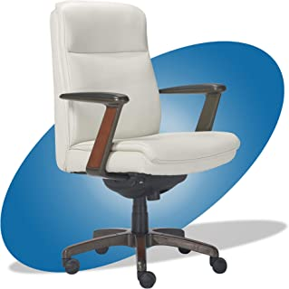 product image for La-Z-Boy Dawson Modern Executive Office, Adjustable High Back Ergonomic Computer Chair with Lumbar Support, White Bonded Leather with Wood Inlay