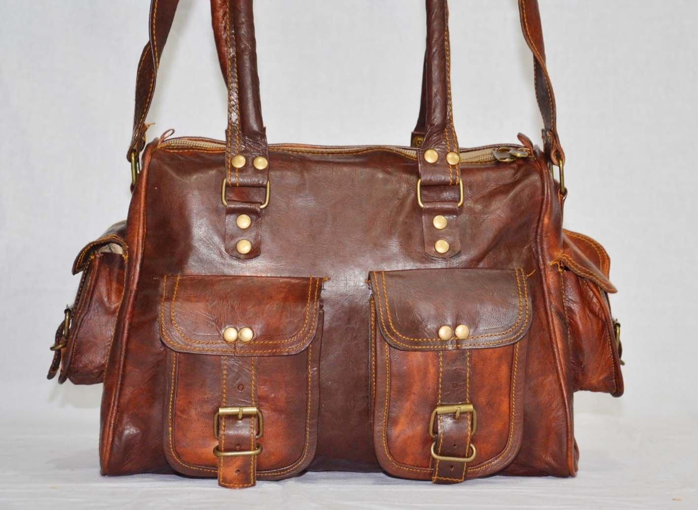 thehandicraftworld Handmade leather shoulder satchel vintage messenger bag briefcase for ladies