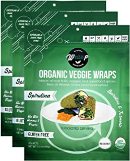 product image for Wrawp Organic Veggie Wraps -Mini Raw Vegan Spirulina Flat Bread (3 pack) Perfect for Wraps, Sandwiches, Crackers, Side Bread or a Simple Snack
