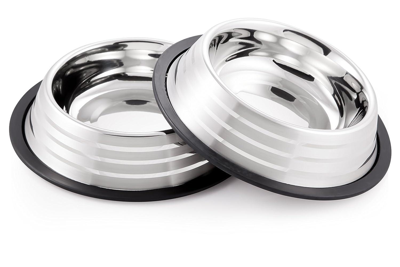 McSunley 855-2 Stainless Steel 2Piece No Skid Pet Bowl Set
