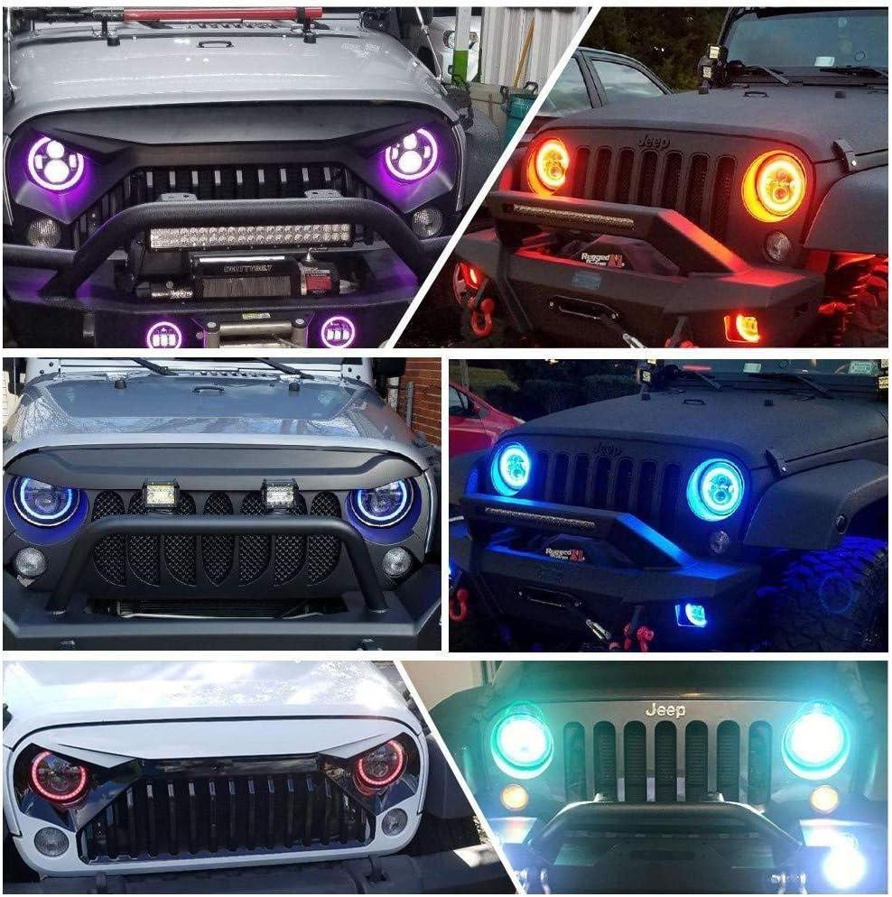 Kit combinazione luci LED a 7 pollici Wrangler con cambio Bluetooth controllato a colori JK TJ LJ DRL 2PCS