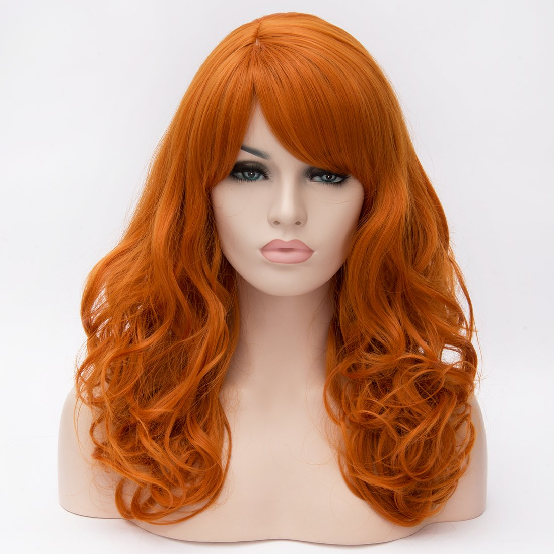 "Cying Lin 18"" Long Curly Orange Wig Bangs Heat Resistance Fiber Synthetic Hair Party Natrual Wigs Peluca (ORANGE)"