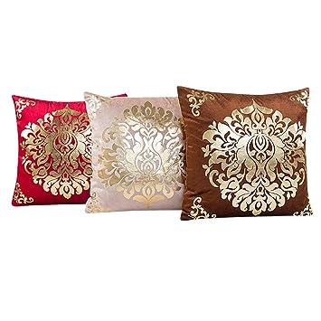 Kissen, WEANT Gold Samt Bezüge Baumwollleinen, Quadratisch Sofa Bett Home  Dekoration, Braun,