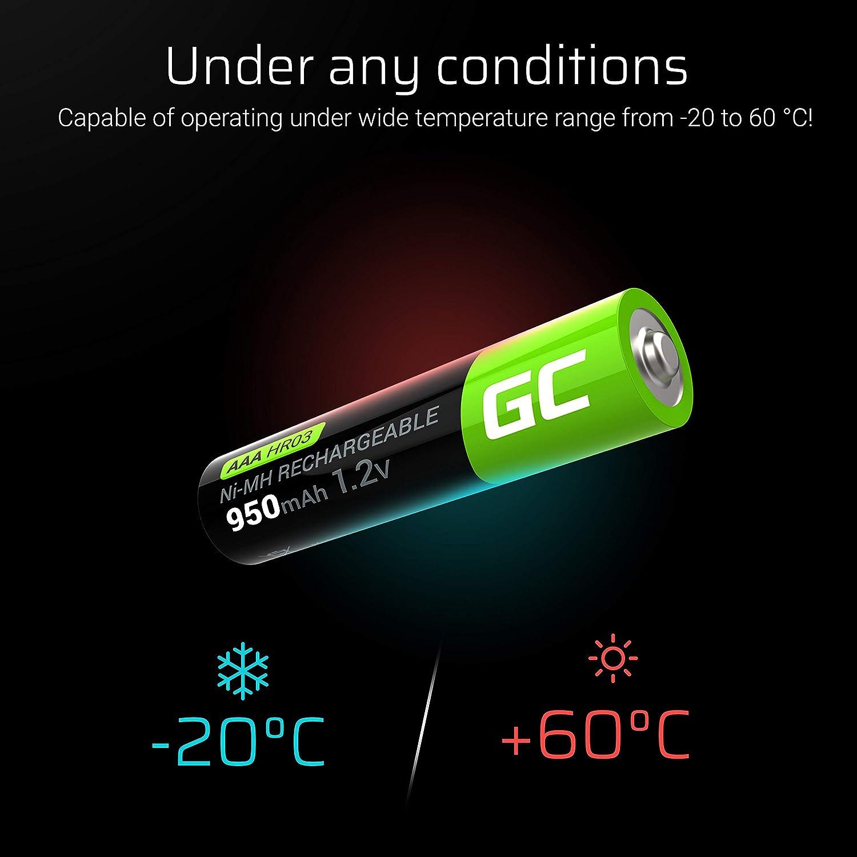 HR03 batteria Green Cell 950mAh 1.2V confezione da 2 Pile Ricaricabili Stilo AAA precaricate NiMH Bassa autoscarica Micro accumulatore BK-4MCCE//8LE X alta capacit/à