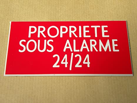 Placa adhesiva tallada ft 100 x 48 mm Propriete Sous alarma ...