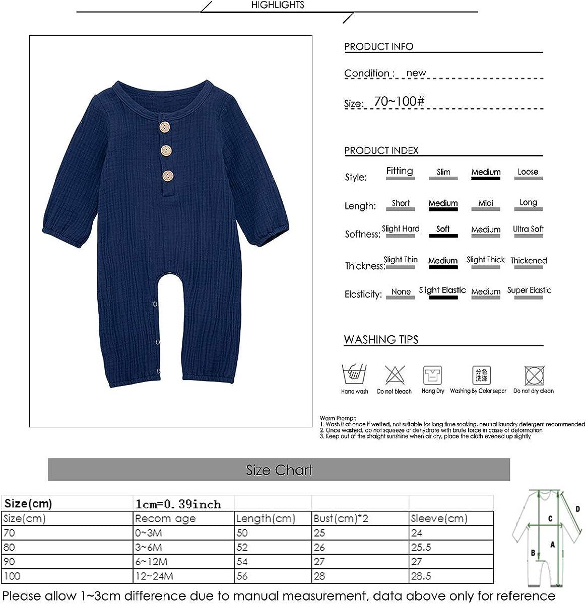 puseky Newborn Baby Pure Color Romper Cotton Linen Long Sleeve Jumpsuit Bodysuit