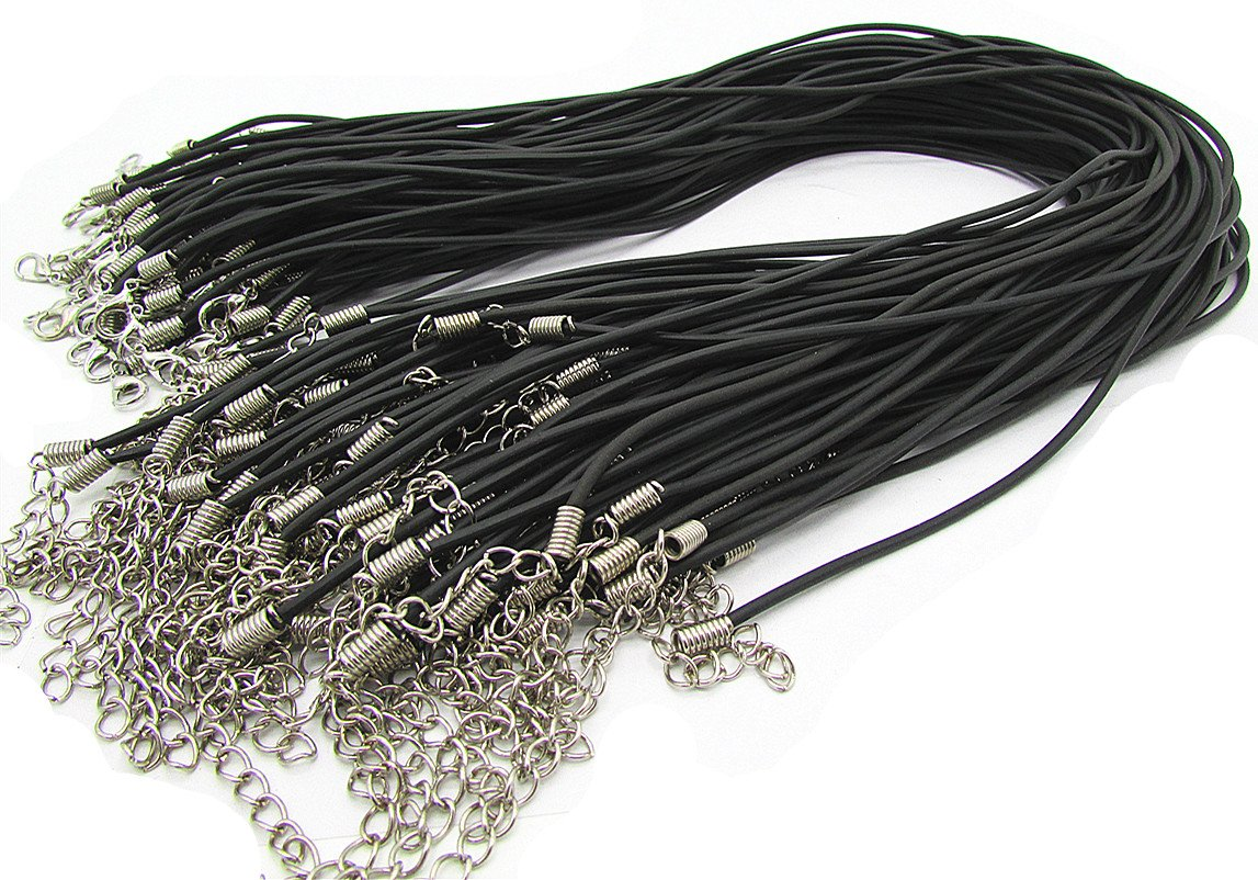 Black 18 Rubber Cord Rope Necklace Chain with Lobster Claw Clasp 100Pcs