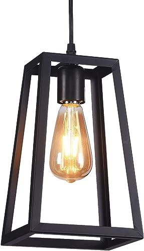 Wideskall Industrial Metal Iron Frame Lantern Mini Hanging Pendant Light 1-Bulb Lighting Fixture, Matte Black Finish, UL Certificated Square Lantern