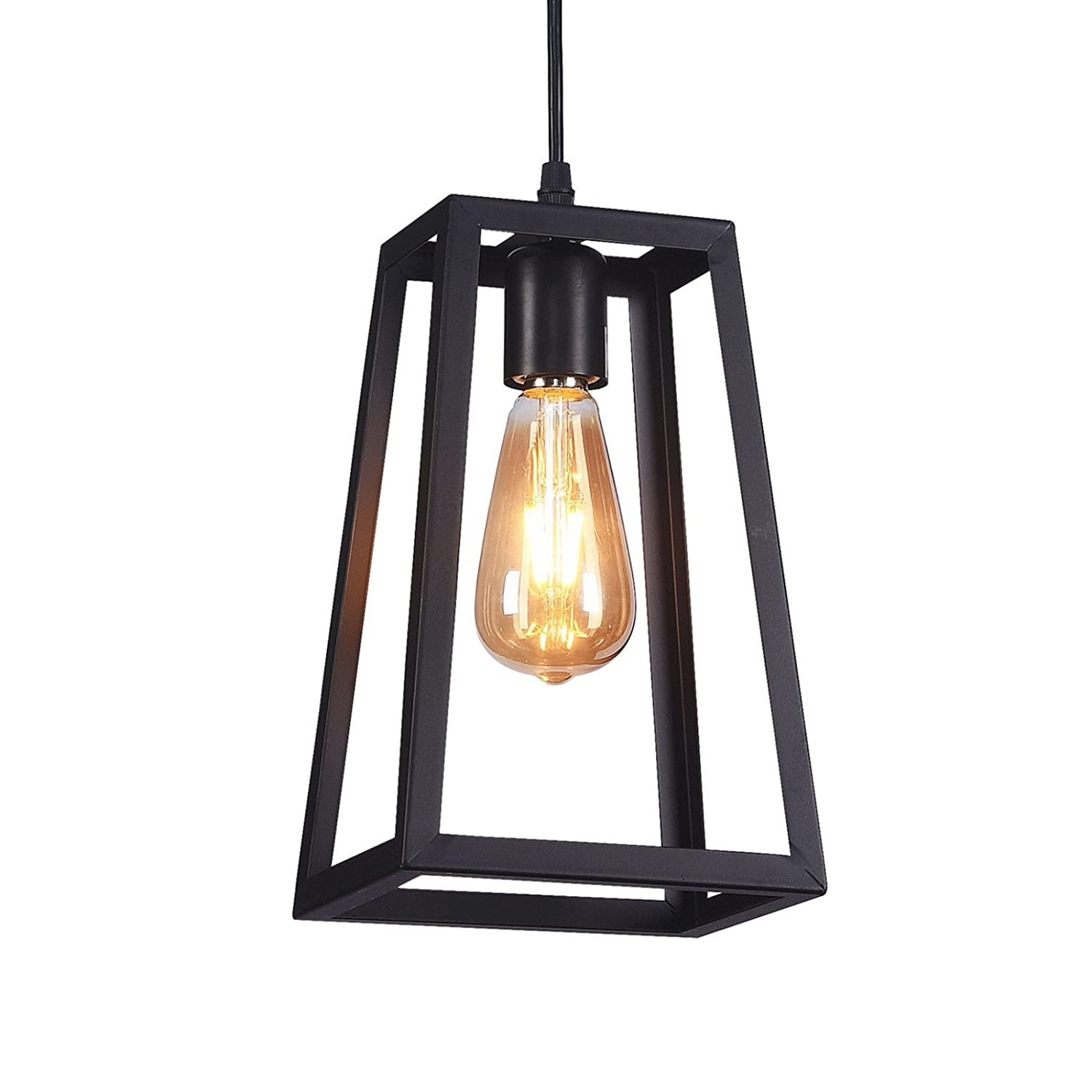 Wideskall 6 industrial metal iron frame square lantern mini hanging pendant light 1 bulb lighting fixture matte black finish ul certificated amazon