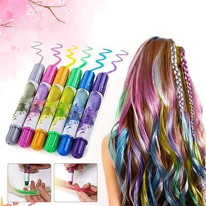 Freefisher – tiza de color de cabello, LuckyFine, tiza temporaires, tinte tiza tinte DIY, lavables y inocua, para todos los tipos de cabello de niños ...