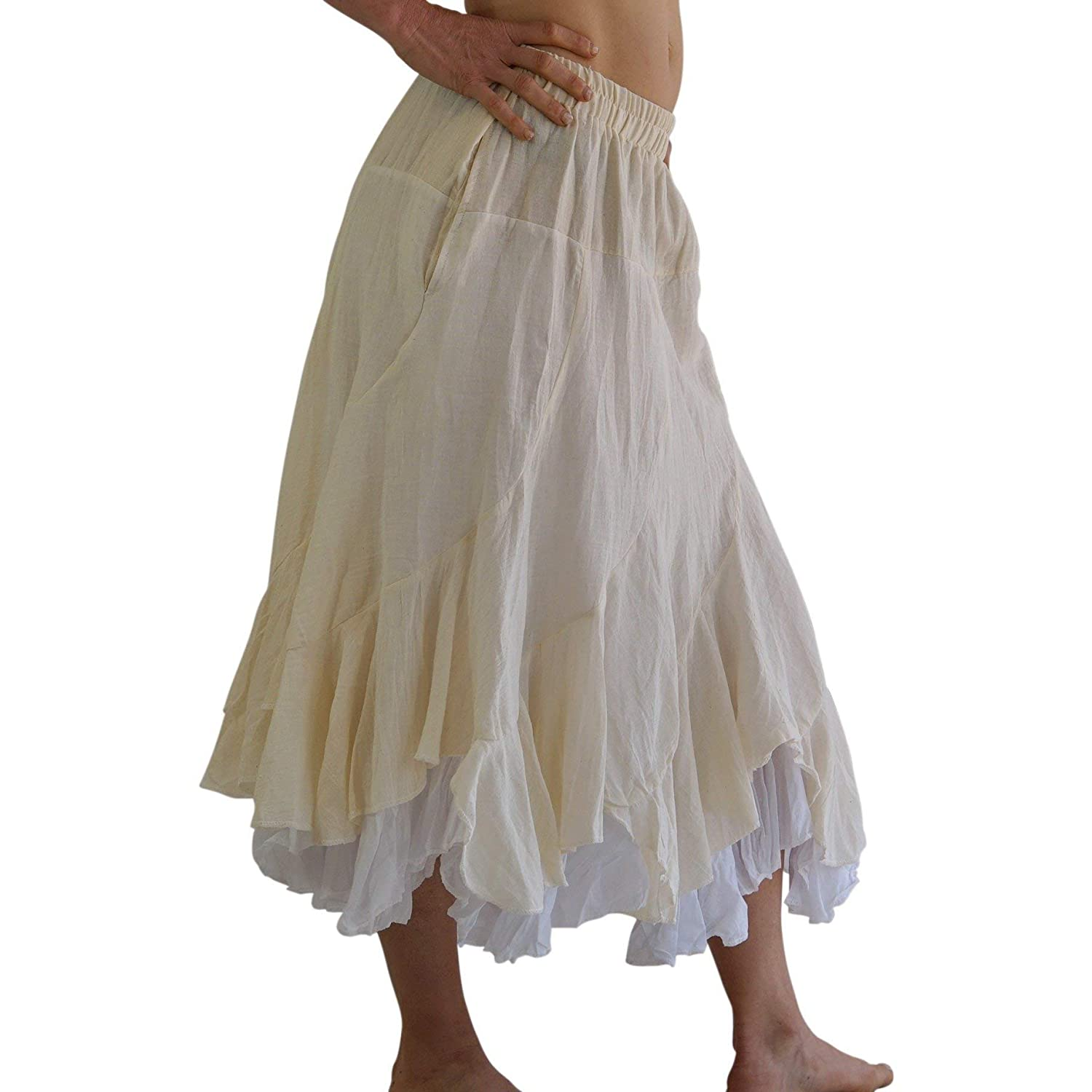 zootzu Two Layer Gypsy Renaissance Skirt Cream//White