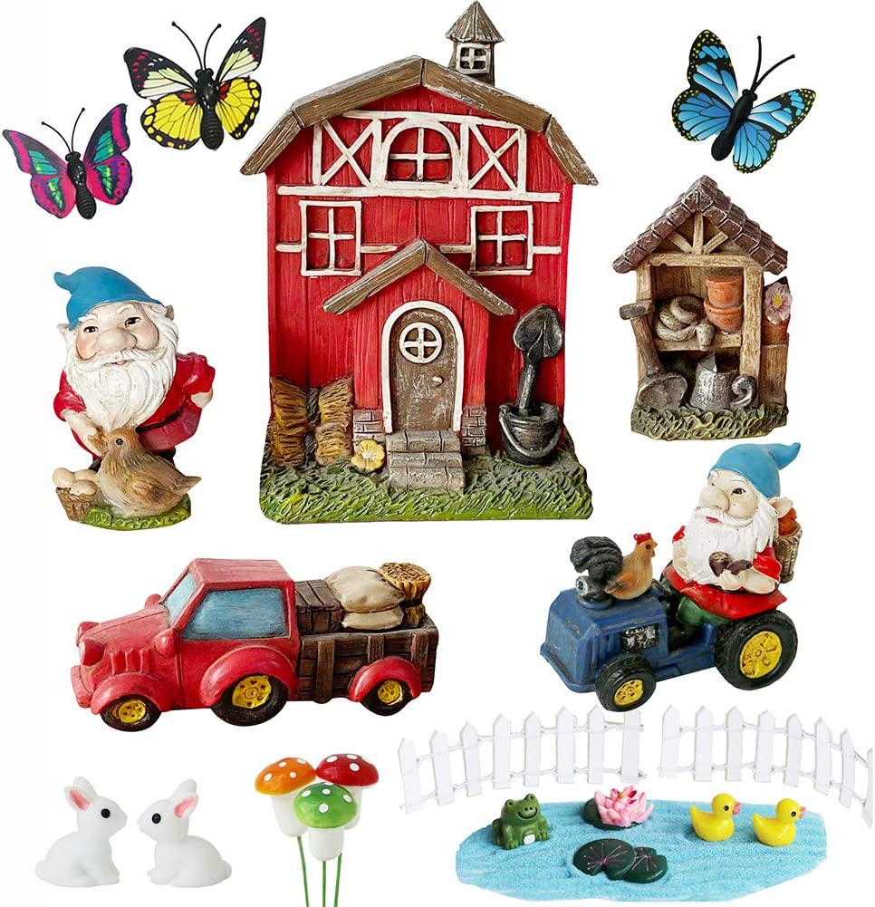 Miniature Gnome Garden Kit-Accessories- Small Red Barn Farm Gnome Figurines Statue Set for Outdoor Fairy Garden Decor with Fence Rabbit Butterfly Mushroom