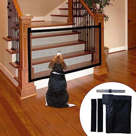 Novsix Magic Pet Gate para Perros Malla de Aislamiento Plegable portátil Puerta de Seguridad para Mascotas Valla de Seguridad para Perros Gasa aislada Instalar con Cinta Fuerte de Gancho y Lazo para: