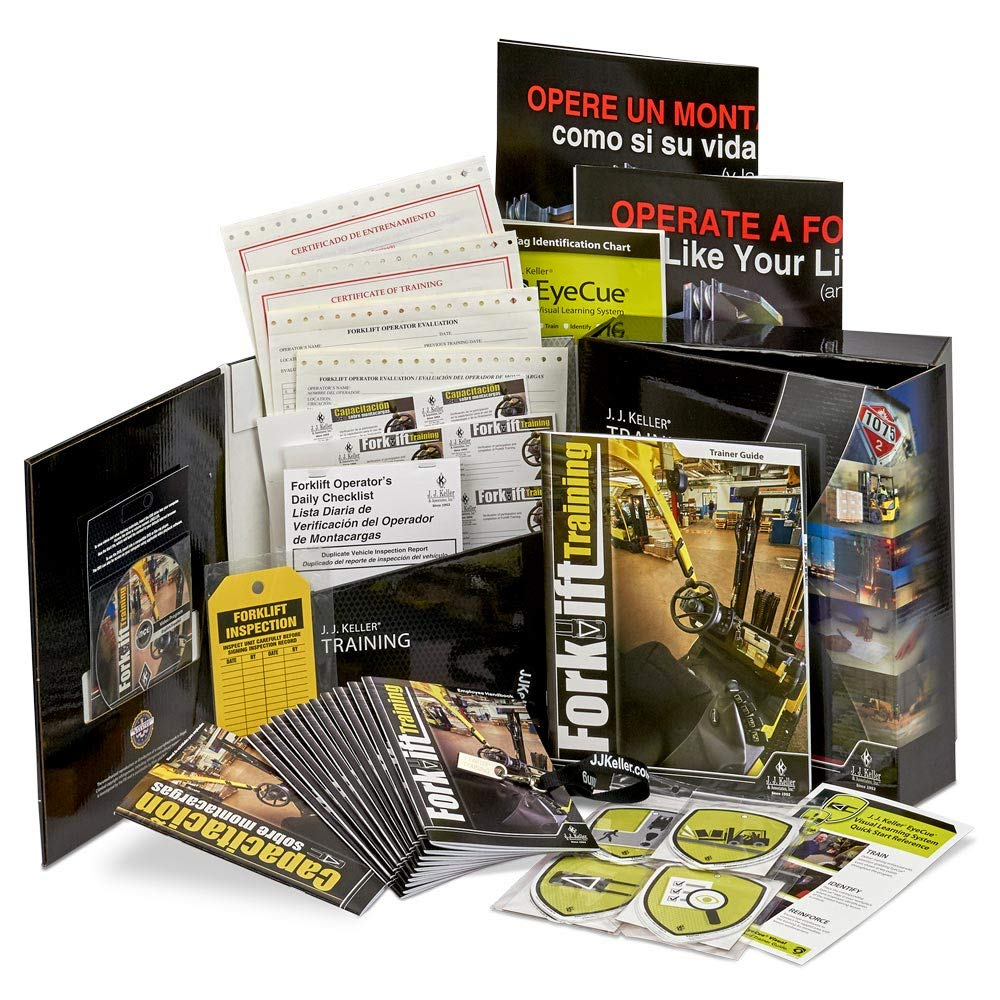 Forklift Training DVD Video Kit in English & Spanish from J. J. Keller- 100% OSHA Compliant for Training Certification- Includes Employee Handbook, Trainer Guide, Posters, Forms, Certificate & More