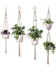 INDRESSME Macrame Plant Hanger Indoor - 4 Pack, in Different Designs, Handmade Cotton Rope Hanging Planter Holders, Garden Patio Balcony Ceiling Decorations Modern Boho Home Decor