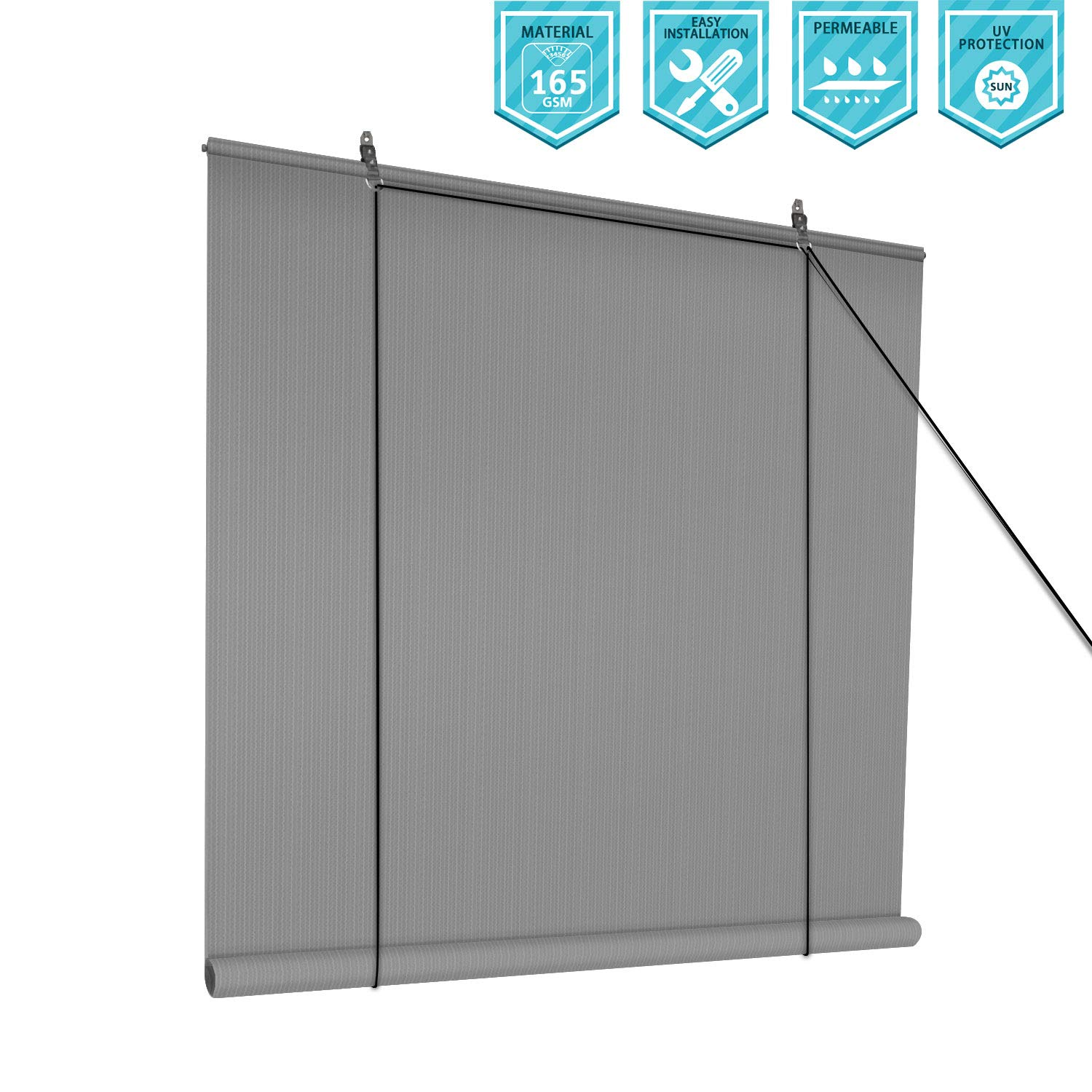 Coarbor Outdoor Roll up Shades Blinds for Porch Patio Shade Exterior Roller Shade Privacy Shade Screen for Deck Pergola Gazebo Grey 8'W x 6'H