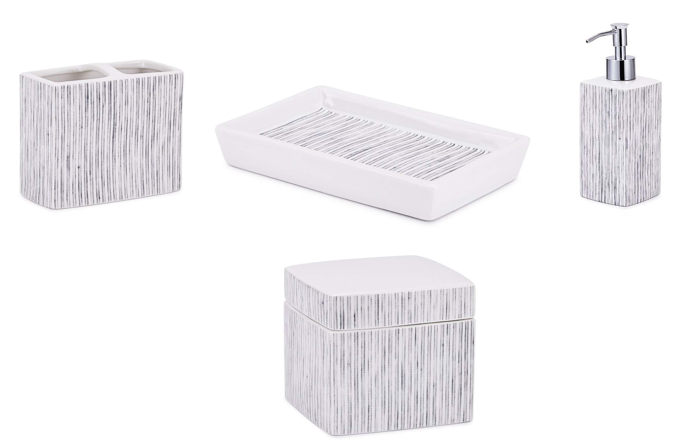 Kassatex 4-Piece Bath Accessory Set, Wainscott Bath Accessories | Lotion Dispenser, Toothbrush Holder, Tray, Cotton Jar