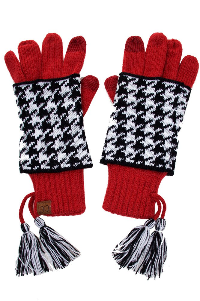 ScarvesMe CC Touch Screen Smart Soft Knitted Houndtooth Double Layer Gloves (Crimson)
