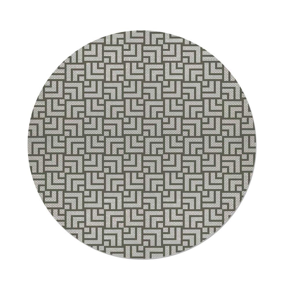 Cotton Linen Round Tablecloth,Modern Decor,Mysterious Vintage Maze Modern Shape in Squares Lines Art Print,Sage Green and White,Dining Room Kitchen Table Cloth Cover
