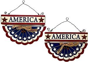 """D.I. Inc Patriotic Americana USA Banner Rustic Wood Decor Art Wall Front Door Display Set of 2 (14"""" x 10"""")"""