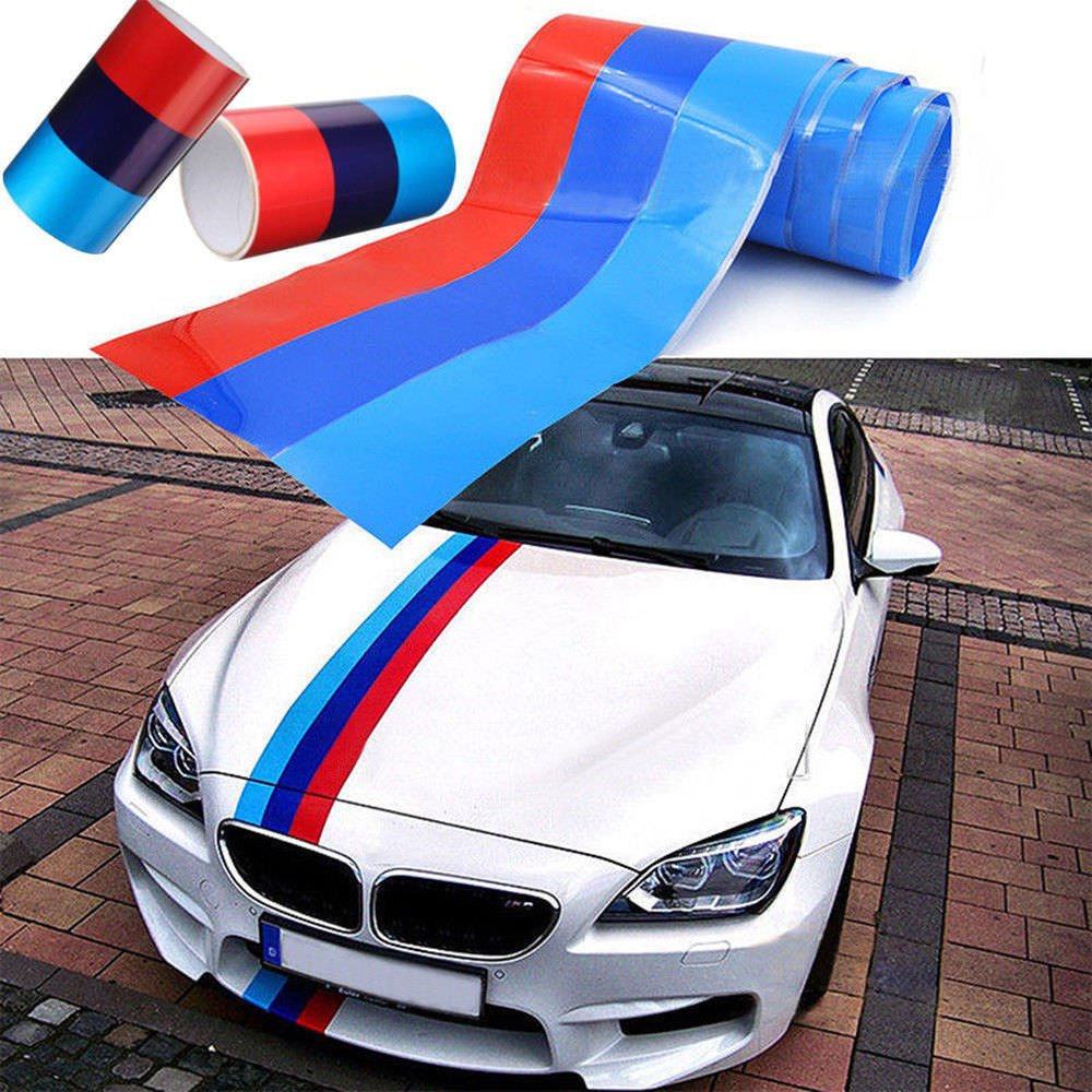 hsn_zem 5FT M-Colored Stripe Sticker car Vinyl Decal For BMW M3 M4 M5 M6 3 5 6 7 Series