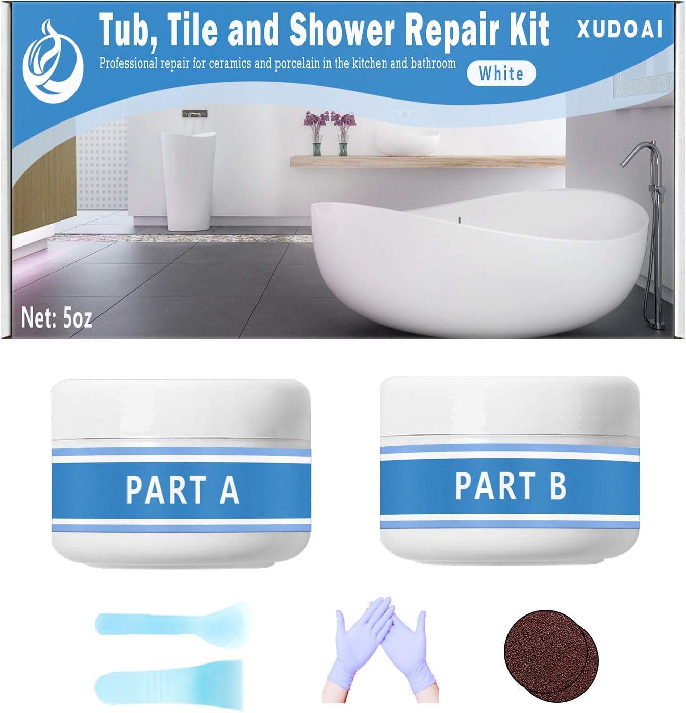 Kit de reparación de bañera, azulejos y ducha, kit de acabado para grietas de baño, para porcelana, acrílico, fibra de vidrio, de color blanco