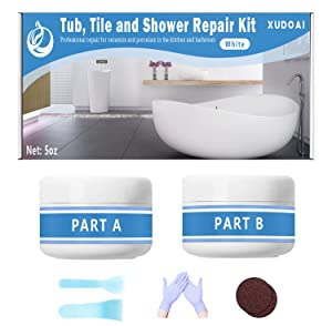 Tub, Tile and Shower Repair Kit, 5oz White Bathtub Crack Refinishing Kit for Porcelain, Acrylic, Fiberglass