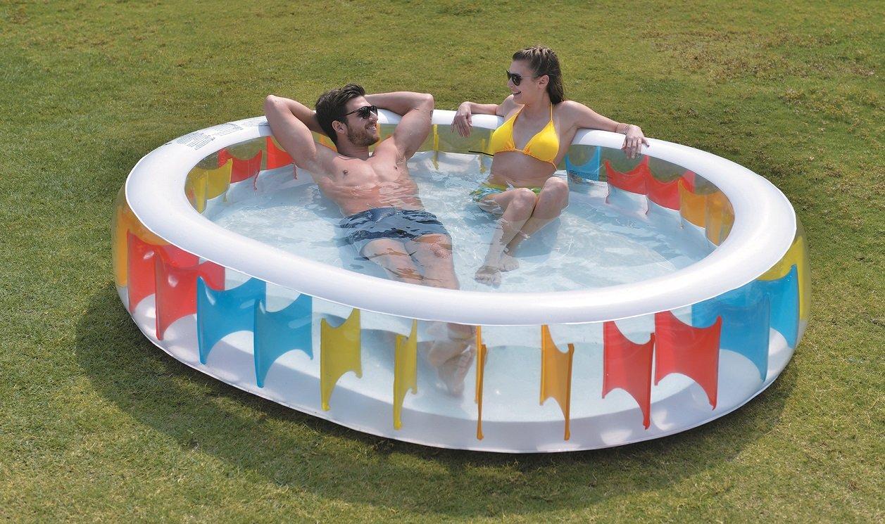 Aria Oval Rainbow Inflatable Kiddie Pool, Multicolor, 98'' x 82'' x 20''