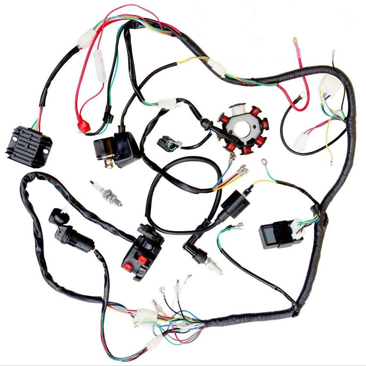 Amazon.com: JIKAN Complete Wiring Harness kit Wire loom Electrics Stator  Coil CDI For ATV QUAD 4 Four wheelers 150CC 200CC 250CC Go Kart Dirt Pit  Bikes: ...