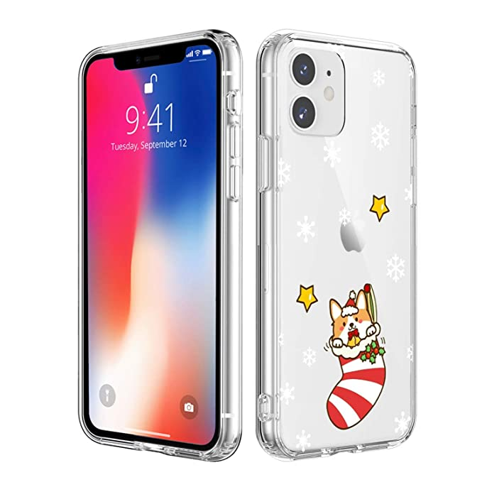 MAYCARI for iPhone 11 Case Clear, Cute Funny Christmas Dog Pattern ...