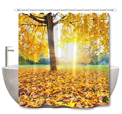 LB Autumn Shower Curtains For BathroomGold Fall Leaves Theme Nature Scene Curtain