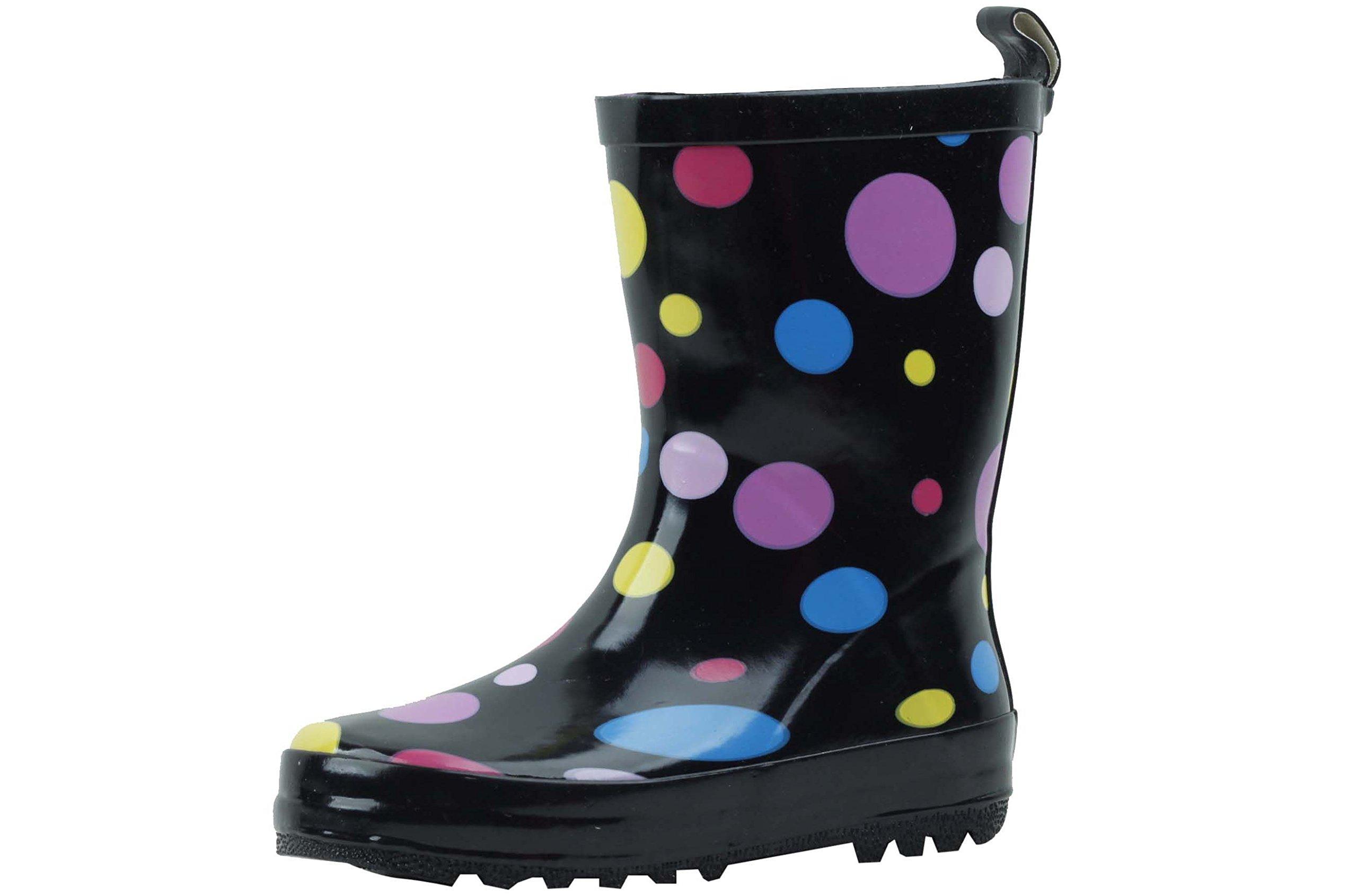 G4U-B0A01S Children's Kids Rain Boots Multiple Styles Color Rubber Strap Waterproof Boys Girls Snow Shoes (4 M US Big Kid, Multi-Color Polka Dots-1)
