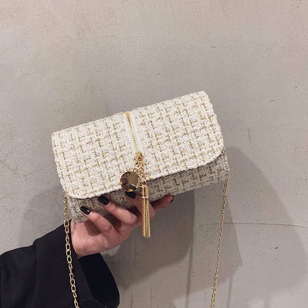Makeupstory Purses and Handbags,Straw Bag,Women's Fashion Solid Color Square Bag Shoulder Bag Tassel Diagonal Package White by Makeupstory (Image #2)
