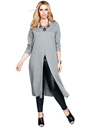 6db7cd7a38128 Roamans Women's Plus Size Slit-Front Drape Ultra Tunic at Amazon Women's  Clothing store: