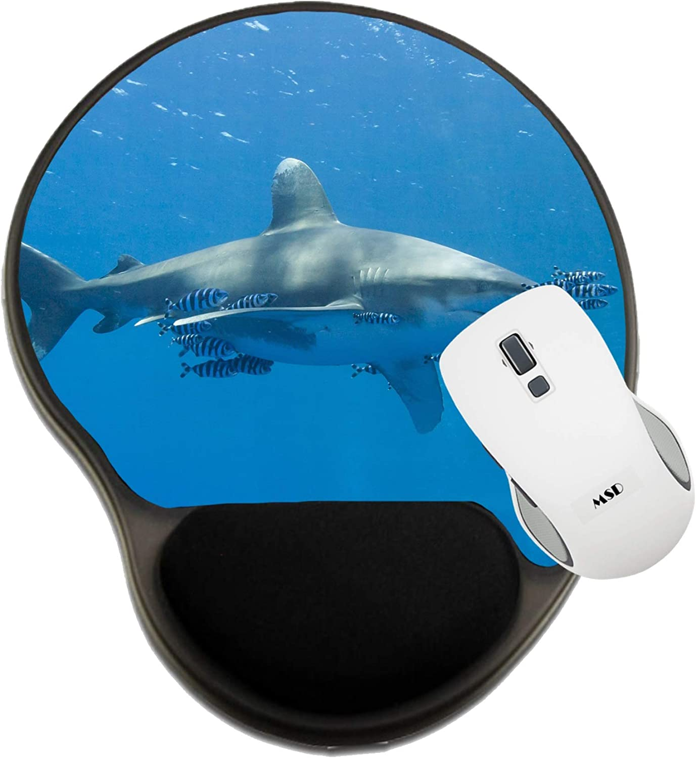 MSD Mousepad Wrist Rest Protected Mouse Pads, Mat with Wrist Support, Large Oceanic White tip Shark Carcharhinus longimanu