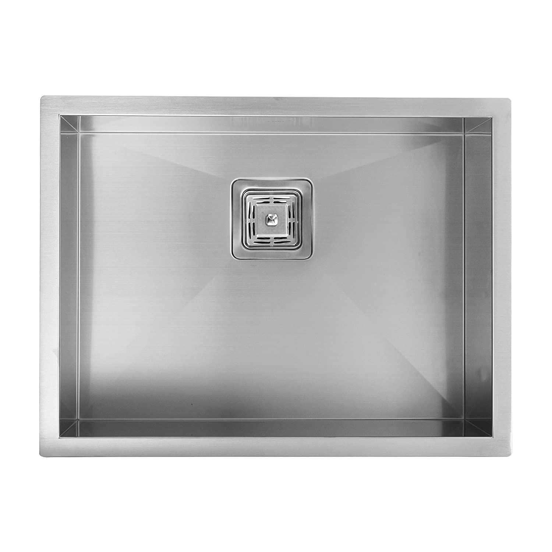 ENKI Évier compact à encastrer 1 bac carré fait main acier inoxydable satiné SS27